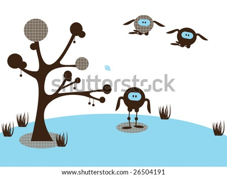 An illustrated card design of an abstract funny landscape, with monster birds - stock vector