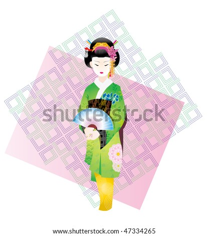 An illustrated Geisha , with some Japanese traditional patterns - stock vector