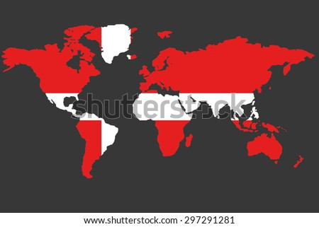 An Illustrated Map of the world with the flag of Denmark - stock vector