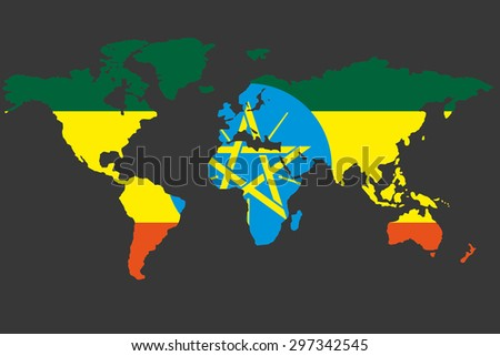 An Illustrated Map of the world with the flag of Ethiopia - stock vector