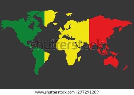 An Illustrated Map of the world with the flag of Mali - stock vector