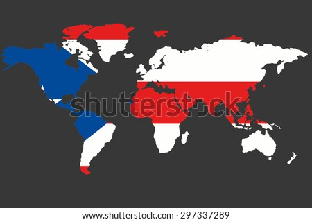 An Illustrated Map of the world with the flag of Puerto Rico - stock vector