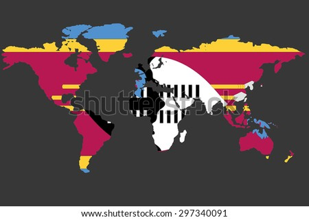 An Illustrated Map of the world with the flag of Swaziland - stock vector
