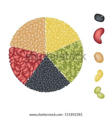 An Illustration Collection of Different Dried Beans, Mung Bean, Kidney Bean, Black Eye Bean, Soy Bean and Yellow Split Peas Forming A Pie Chart  - stock vector