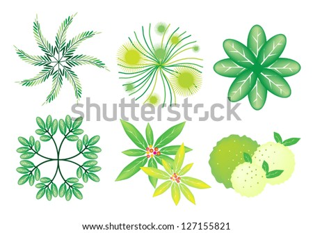An Illustration Collection of Landscaping Treetop Symbols or Isometric Trees and Plants for Garden Decoration - stock vector