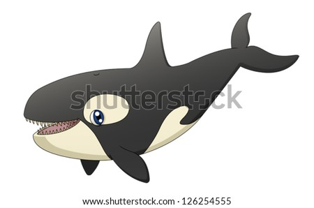 An illustration depicting a cute cartoon killer whale singing. Eps 10 Vector. - stock vector