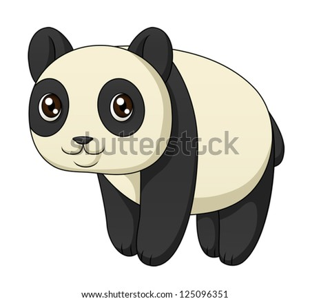 An illustration depicting a cute cartoon panda standing. Eps 10 Vector. - stock vector