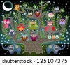 An illustration done in the style of a childrens book: elephants and owls - stock vector