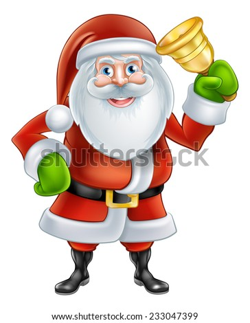 An illustration if a happy Cartoon Santa Claus character Ringing a gold hand Bell - stock vector