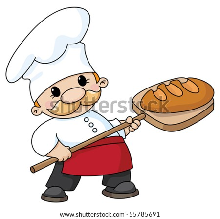 An illustration of a baker with bread - stock vector