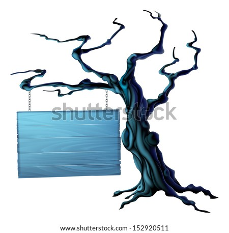 An illustration of a bare spooky scary Halloween tree with a suspended sign hanging from a chain on it - stock vector