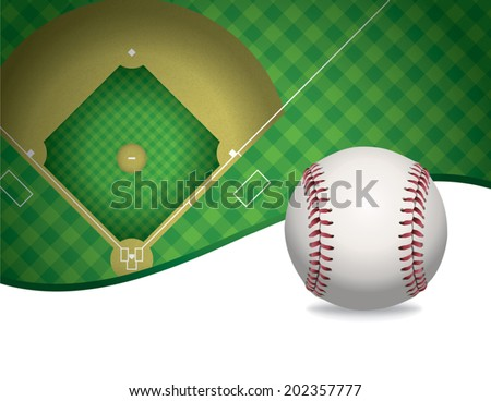 An Illustration Of A Baseball And Field Room For Copy Vector EPS File