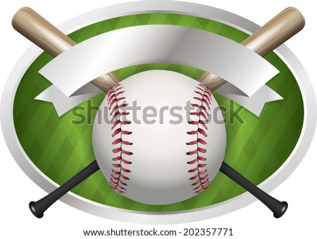 An illustration of a baseball and bat banner. Room for copy. Vector EPS file contains transparencies and gradient mesh. - stock vector