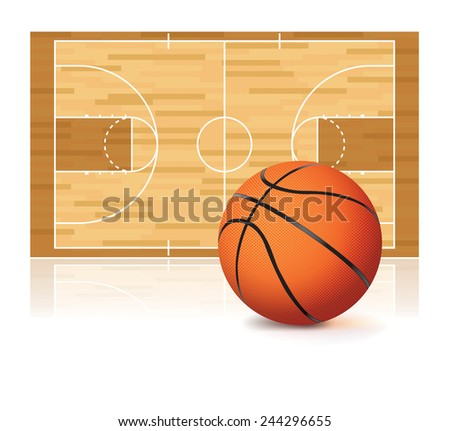 An illustration of a basketball and basketball court isolated on a white background. Vector EPS 10. EPS file contains transparencies and a gradient mesh. - stock vector