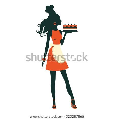 An illustration of a beautiful baker holding freshly baked cake - stock vector