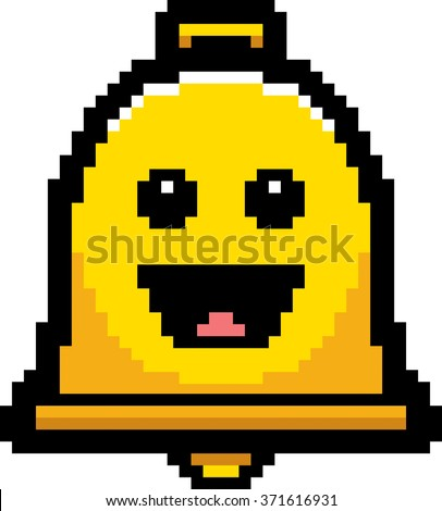 An illustration of a bell smiling in an 8-bit cartoon style. - stock vector