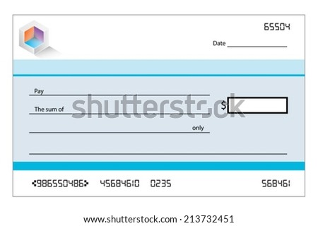 An Illustration of a blank bank cheque - stock vector