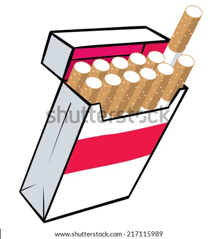 An illustration of a box of cigarettes. - stock vector