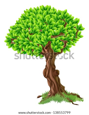 An illustration of a bright green tree with grass around the trunk
