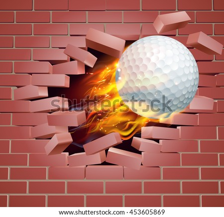 An illustration of a burning flaming Golf ball on fire tearing a hole through a brick wall - stock vector