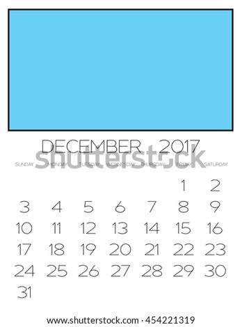 An Illustration of a 2017 Calendar - December