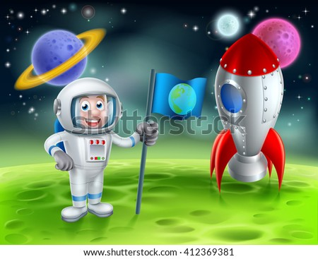 An illustration of a cartoon astronaut and retro space rocket ship or space ship landed on a moon or planet with alien planets and stars in the background  - stock vector