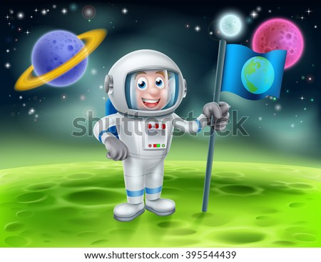 An illustration of a cartoon astronaut holding a flag on a moon or planet with alien planets in the background - stock vector