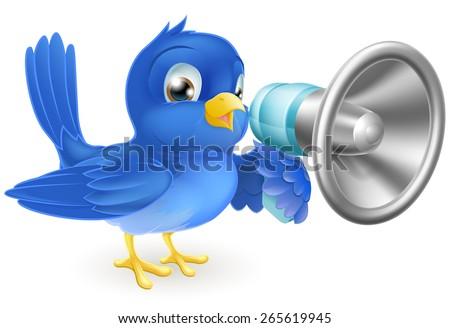 An illustration of a cartoon bluebird blue bird with a megaphone - stock vector