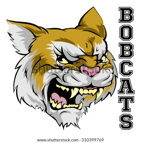 An illustration of a cartoon bobcat sports team mascot with the text Bobcats  - stock vector