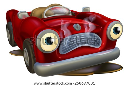 An illustration of a cartoon car character needing repair - stock vector