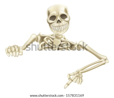 An illustration of a cartoon Halloween skeleton pointing down at a sign or scroll - stock vector