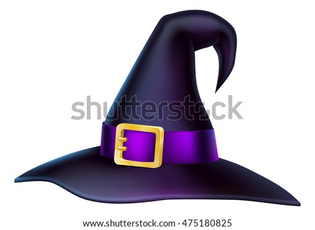 An illustration of a cartoon Halloween witch hat