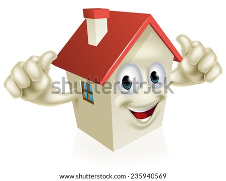 An illustration of a cartoon happy house mascot giving a thumbs up  - stock vector