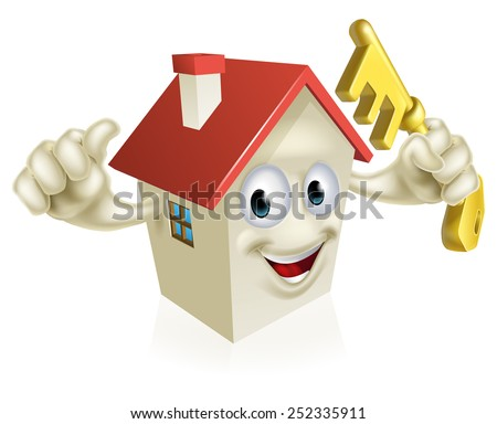 An illustration of a cartoon house character holding a key. Concept for buying a new home, real estate or similar - stock vector