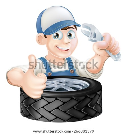 An illustration of a cartoon mechanic with spanner or wrench and tire (tyre) giving a thumbs up - stock vector