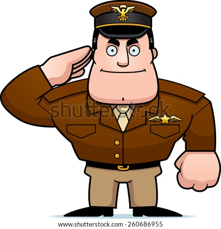 An illustration of a cartoon military captain saluting. - stock vector