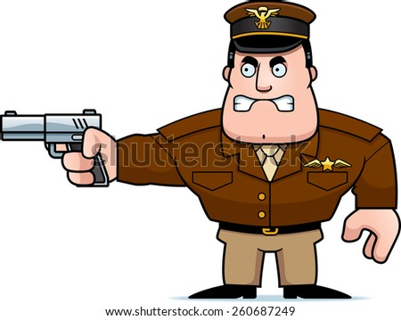 An illustration of a cartoon military captain with a gun.