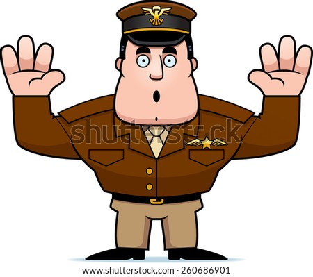 An illustration of a cartoon military captain with hands in the air surrendering. - stock vector