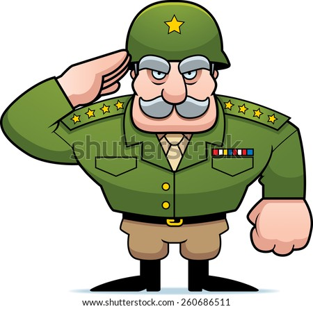 An illustration of a cartoon military general saluting. - stock vector