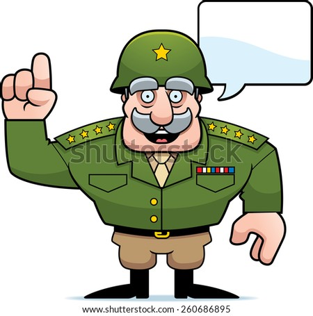 An illustration of a cartoon military general talking. - stock vector
