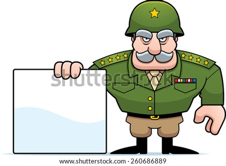 An illustration of a cartoon military general with a blank sign. - stock vector