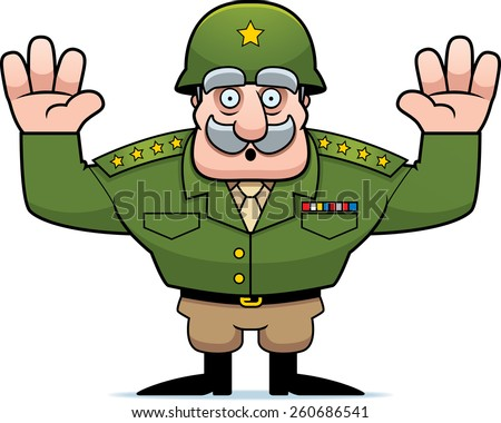 An illustration of a cartoon military general with hands in the air surrendering. - stock vector