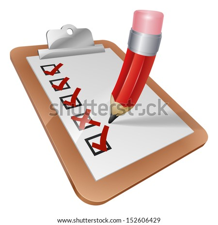 An illustration of a cartoon pencil writing on a survey clipboard - stock vector