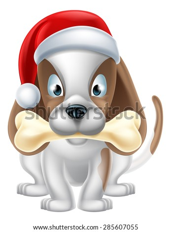 An illustration of a cartoon Puppy Dog wearing a Christmas Santa hat and holding a bone