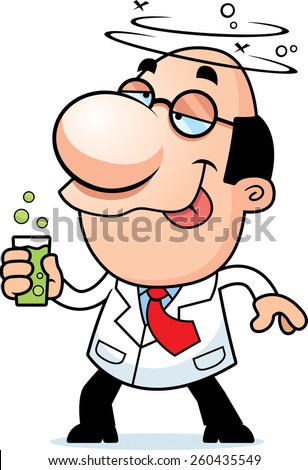 An illustration of a cartoon scientist drinking a bubbling drink. - stock vector