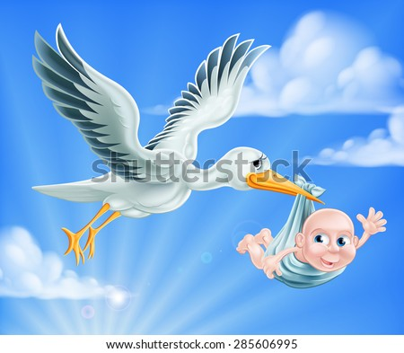 An illustration of a cartoon stork flying through the sky delivering a newborn baby. A classic metaphor for pregnancy or child birth - stock vector