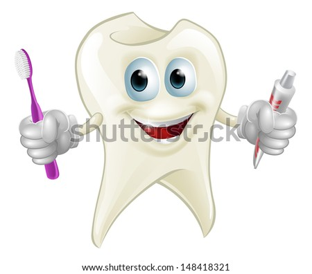 An illustration of a cartoon tooth man character mascot holding a toothbrush and tube of toothpaste