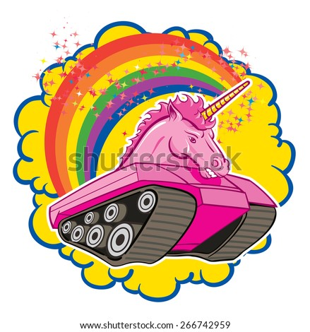 An Illustration of a cartoon Unicorn tank with rainbows and sparkle - stock vector