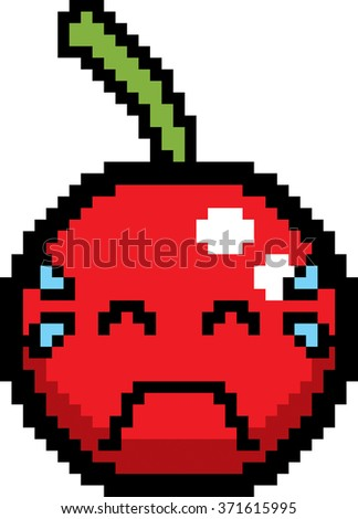 An illustration of a cherry crying in an 8-bit cartoon style.