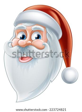 An illustration of a Christmas cartoon happy Santa face - stock vector